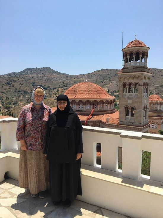 With Sister Nectaria in front of the huge and splendid cathedral mentioned by the Venerable Porphyrios the Kapsokalyvite