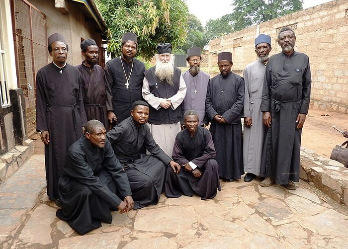 Congolese Orthodox priests with a Greek bishop