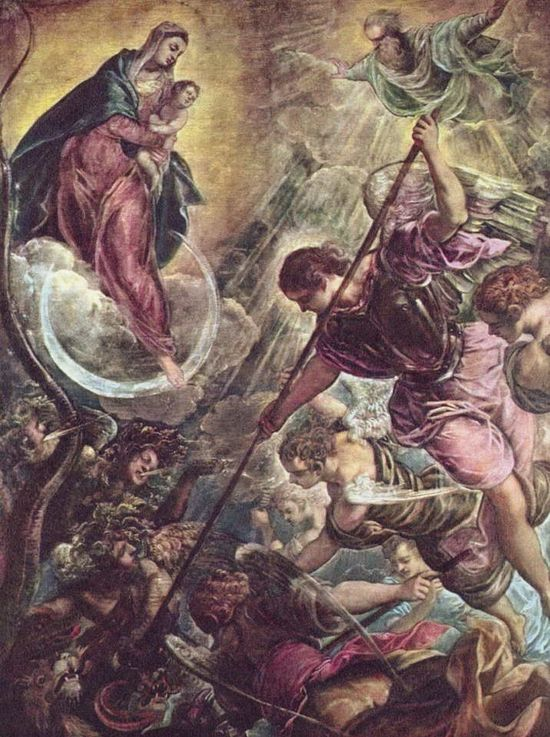 Battle of the Archangel Michael and the Satan. Artist: Tintoretto (Jacopo Robusti). Photo: wikiart.org