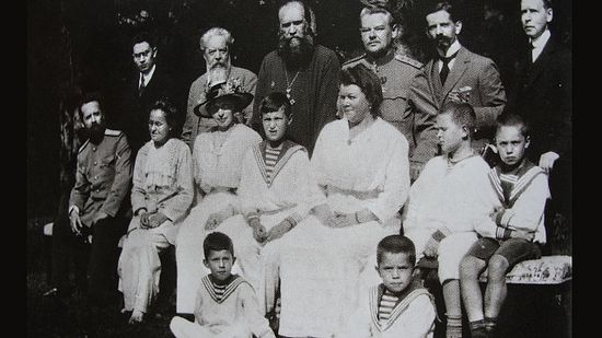 From the Gibbes archives. The Tsarevich with confidants of the Royal Family. Gibbes is at the far right in the top row. Tsarskoe Selo. 1916. Photo: ok.ru