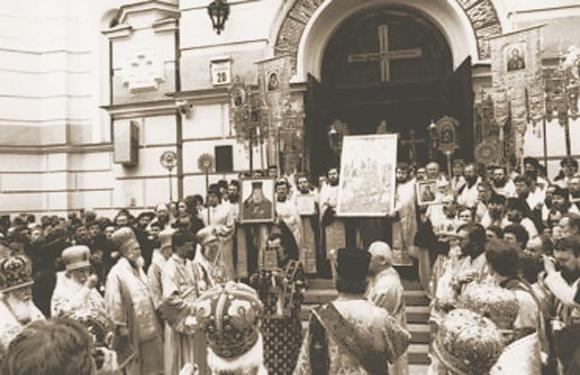 Киев. Празднование 1000-летия Крещения Руси в 1988 г. Начало крестного хода от Владимирского собора (ныне в плену раскола)