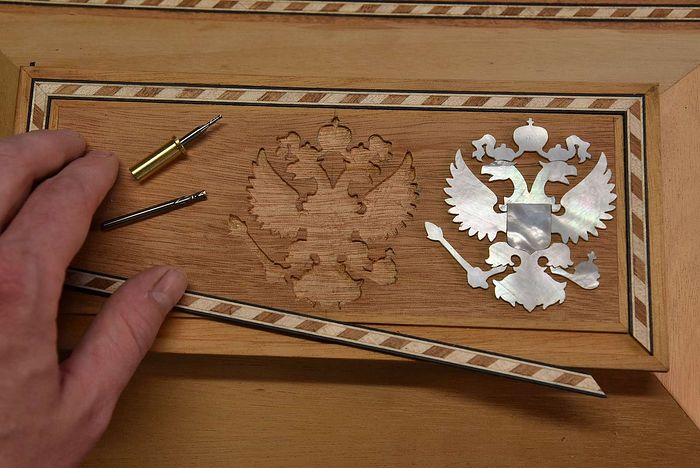 The eagle inlay ready for installation