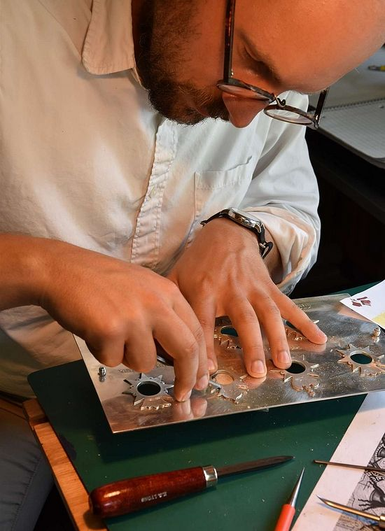 The author's assistant, Tom Podhrazsky, engraving the silver reliquary base-plate