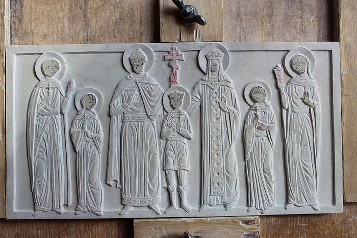 The carved icon for the reliquary lid underway in Jonathan Pageau's workshop