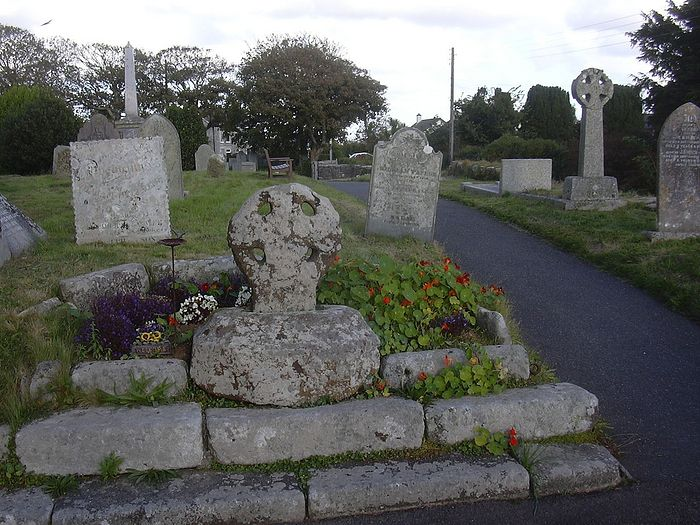 Celtic cross in the churchyard of Breage church, Cornwall