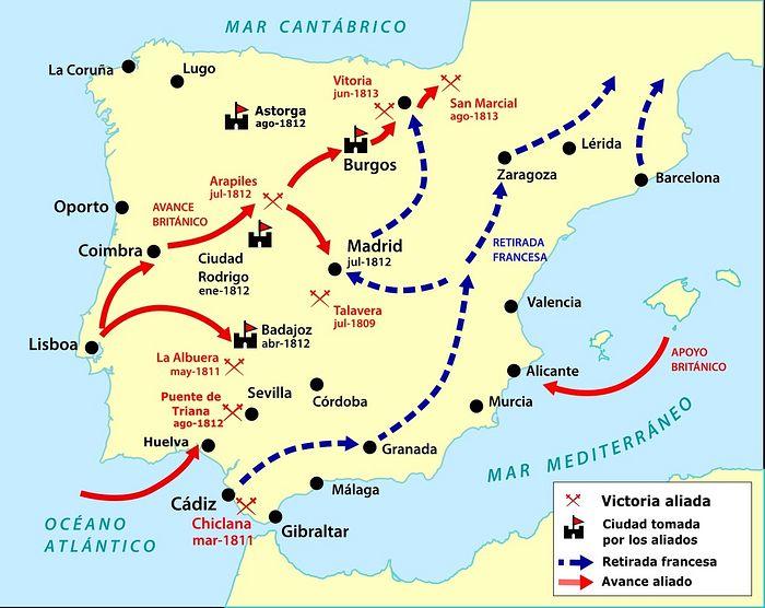 Карта событий завершающей стадии «Пиренейской войны»
