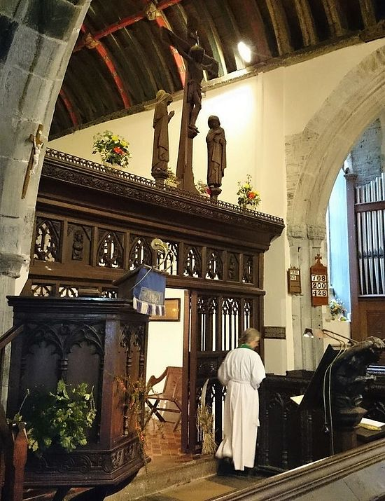 Morwenstow church is decorated for the Harvest Festival (photo provided by the assistant curate of Morwenstow)