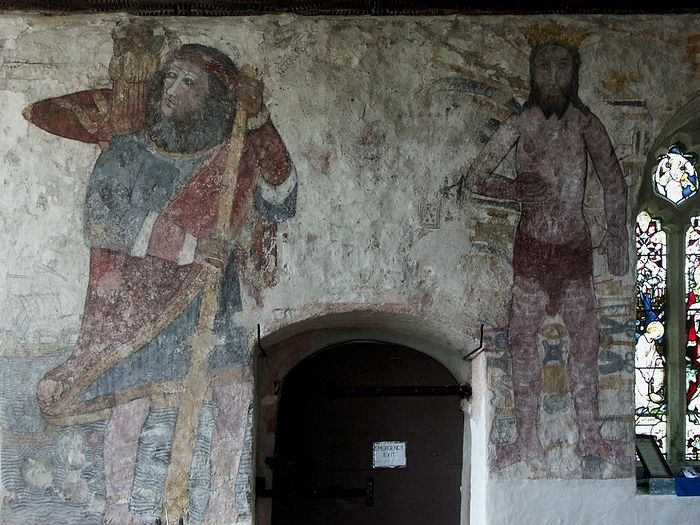 Frescoes inside St. Breaga's Church in Breage, Cornwall
