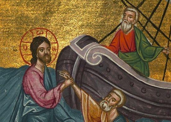 Хождение по водам. Спасение Петра (Мф. 14, 22-36). Миниатюра из коптского Четвероевангелия. Египет.1684 г.