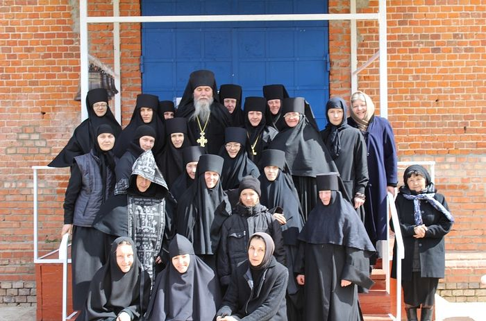 The convent's sisters with their father confessor, Archimandrite Anthony.