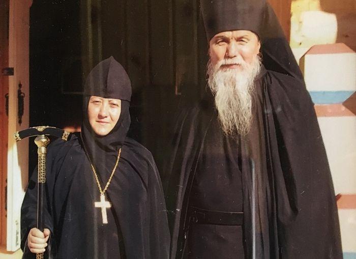 Abbess Vitalia with her father confessor Archimandrite Anthony (Gavrilov) of Optina.