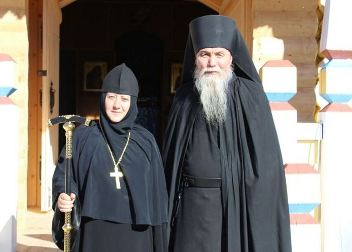 The Convent's Abbess with their spiritual father, Archimandrite Antony.