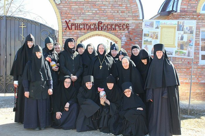 The convent's sisters with their abbess, Mother Vitalia.