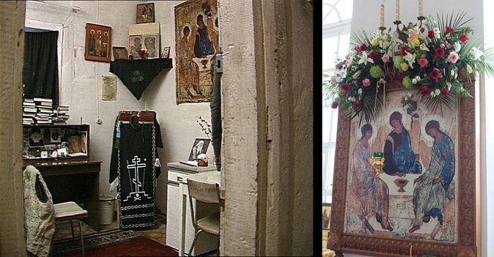 Икона Святой Троицы в келье иеромонаха Василия (Рослякова) и в нашем монастыре