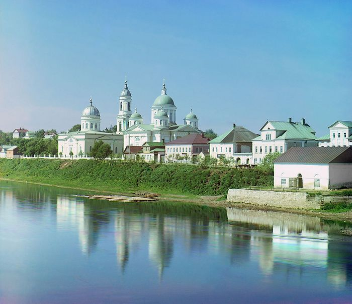 Torzhok. The Transfiguration Cathedral (to the right) and the Church of the Entry of the Lord into Jerusalem