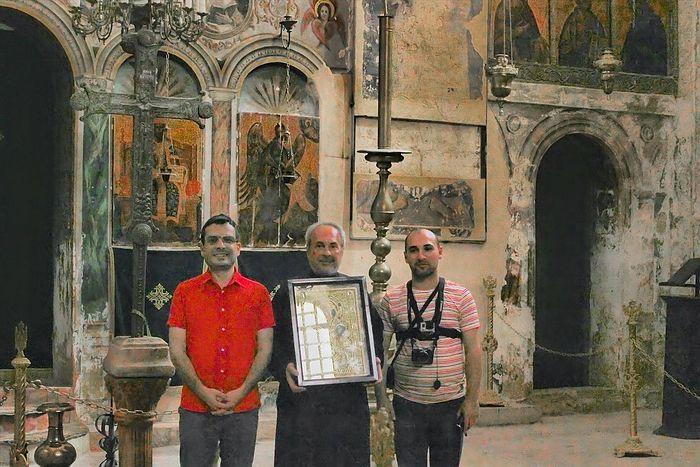 Зураб Шиошвили, архимандрит Клавдий и Георгий Чолокава. Монастырь Креста, Иерусалим