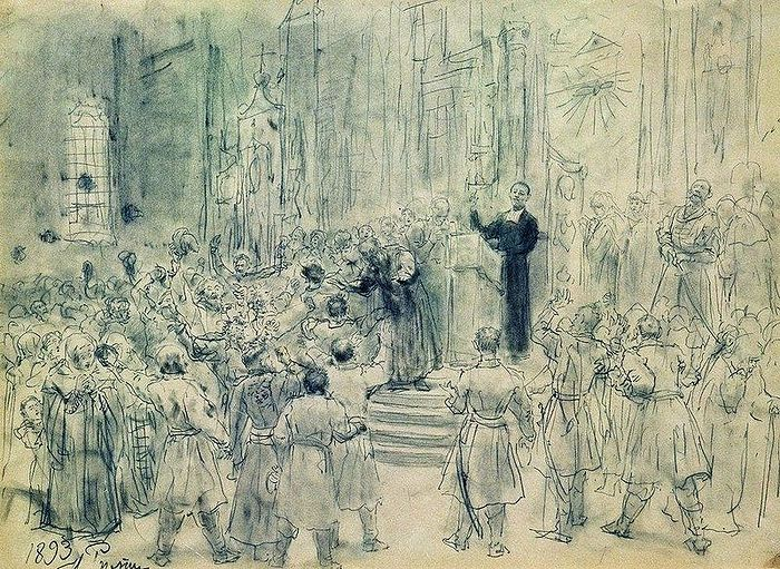 Artist Ilya Repin: Sermon of Josaphat Kuntsevich in Belarus. Graphite on paper. Photo: Wikipedia. Jesuit priest Joasaph Kuntsevich was the main proponent of the Unia of Brest, Belarus, and its harshest enforcer.