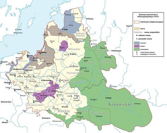 Religions in Polish-Lithuanian Commonwealth in 1573 (Catholics in yellow, Orthodox in green, Protestant in purple/gray). Photo: Wikipedia.