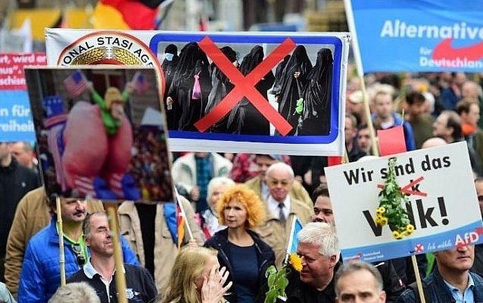 Демонстрация сторонников немецкой праворадикальной партии «Альтернатива для Германии» - среди плакатов протестующих видно требование запрета ношения никабов