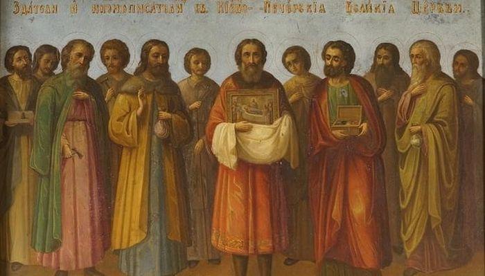 12 греческих мастеров – строителей Великой Успенской церкви, настенная роспись, Киево-Печерская лавра
