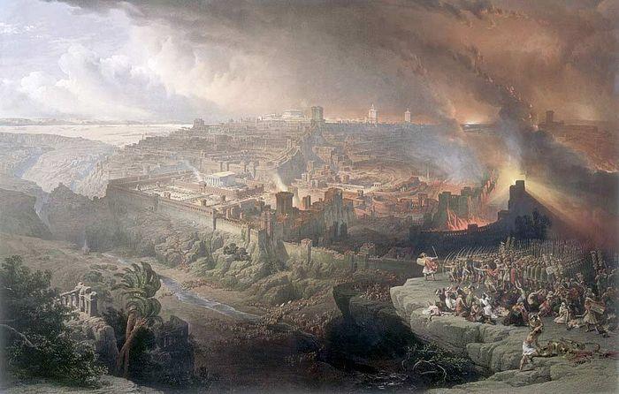 Иудейская война 66-70 годов: осада и разрушение Иерусалима римскими войсками. Художник Д. Робертс, 1850