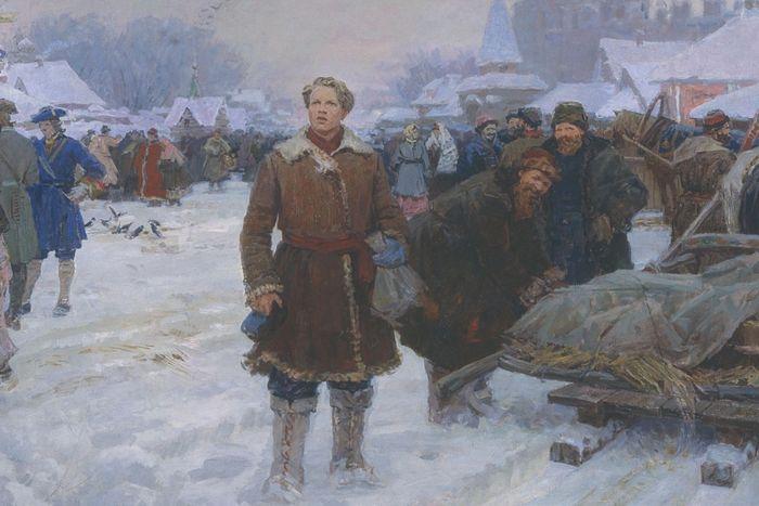 Ломоносов в Москве. Художник: А.И. Васильев