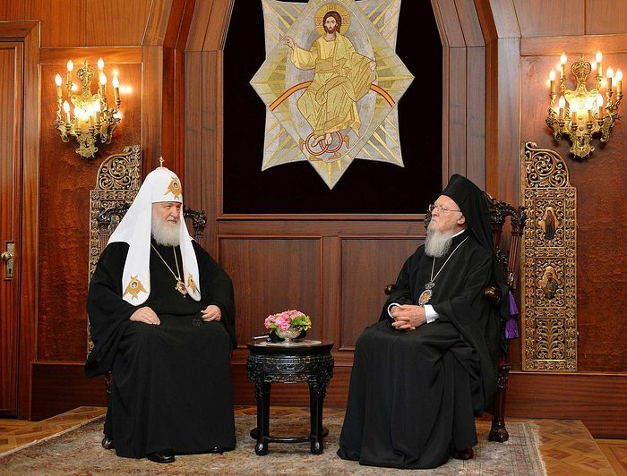 The meeting between His Holiness Patriarch Kirill of Moscow and All Russia with His All Holiness Patriarch Bartholomew of Constantinople. Photo: Mospat.ru