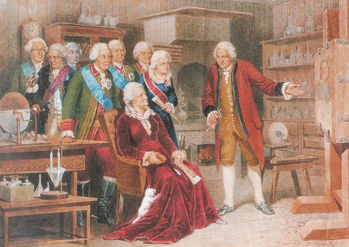 Екатерина II с княгиней Дашковой и другими вельможами в кабинете Ломоносова в 1764 году. Художник: А.Д. Кившенко