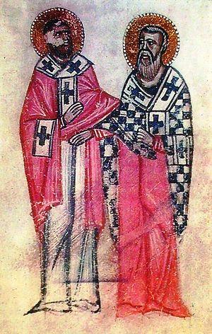 Преподобный Месроп Маштоц и святитель Саак. Средневековая миниатюра из армянских рукописей
