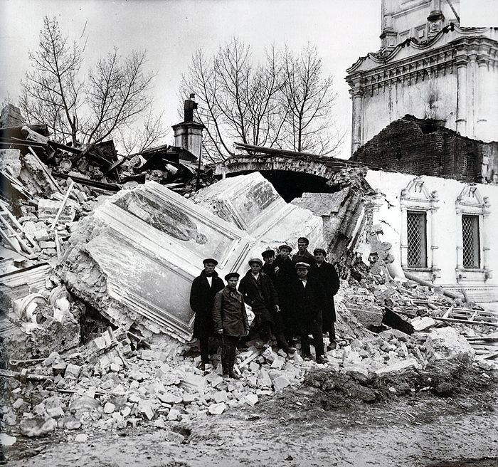 A church destroyed by the soviet authorities.
