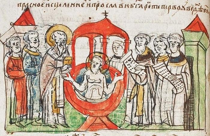 Крштење Руса (минијатура), Кенинингсбершки рукопис, XIII век
