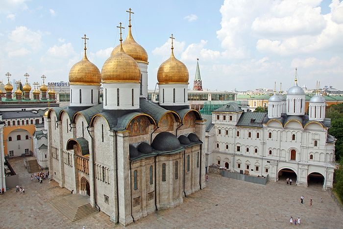 The Dormition Cathedral of the Moscow Kremlin.