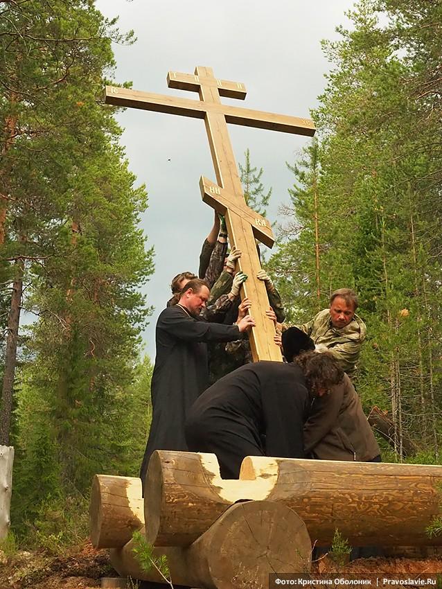 Установка поклонного креста. Финал