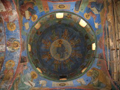 Завершить реставрацию фресок Мирожского монастыря в Пскове планируется до конца года