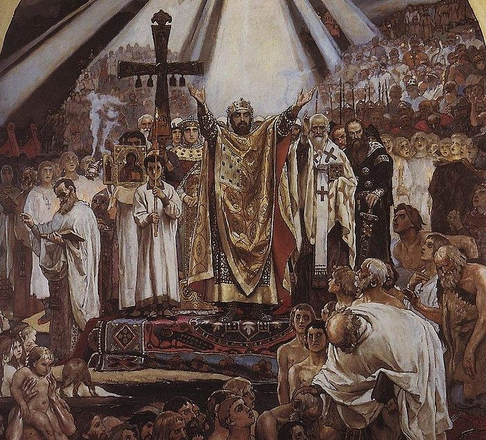 The Baptism of Rus'. Fresco from the St. Vladimir Cathedral in Kiev, Ukraine. Victor Vasnetsov, 1896.