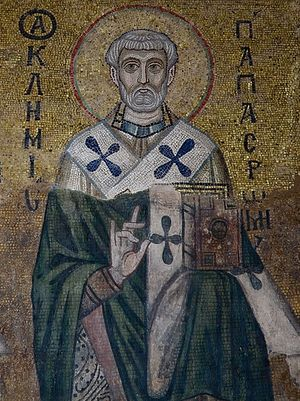 St. Clement of Rome. Eleventh-century mosaic from the St. Sophia Cathedral in Kiev.