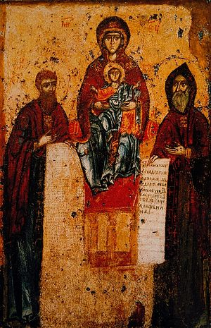 The Sevsk Icon of the Theotokos, also depicting Sts. Anthony (right) and Theodosius. Painted in the 11th century by St. Alypius the Iconographer