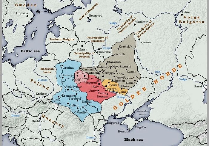 Kievan Rus' in about 1240, the time of the Mongol Tatar invasion.