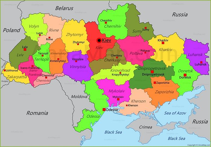 Map of Ukraine as it looks today.