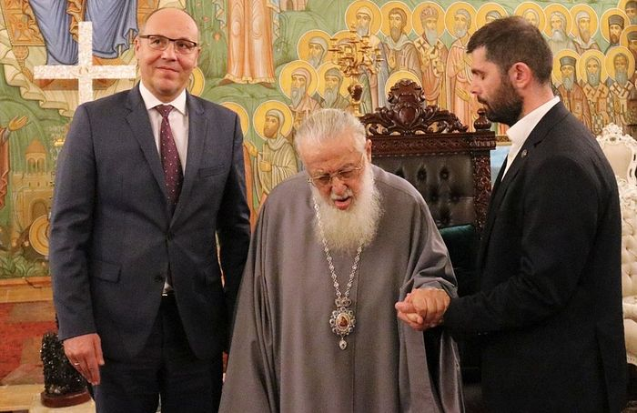His Holiness Catholicos-Patriarch Ilia II with Speaker Paruby. Photo: patriarchate.ge