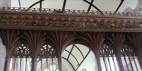 Ancient rood screen inside St. Buryan church, Cornwall (provided by the rector of St. Buryan church)