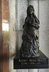The bronze statue of St. Buriana inside St. Buryan church, Cornwall (provided by the rector of St. Buryan church)