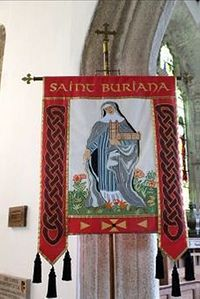 The modern St. Buriana's banner at St. Buryan church, Cornwall (provided by the rector of St. Buryan church)
