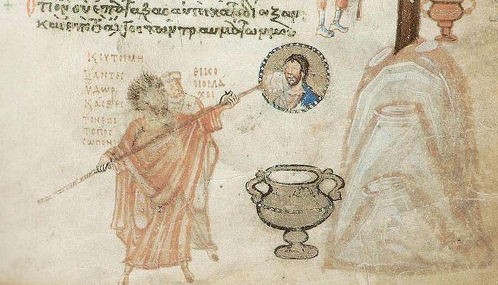 Иконоборцы Иоанн Грамматик и епископ Антоний Силлейский замазывают известкой лик Христа