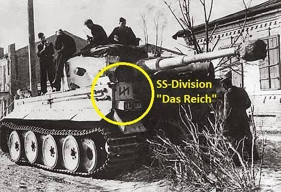 "A tank of the 2nd Panzer Division ""Das Reich"" (wolfsangel is circled in yellow), known for the massacre of 642 civilians in Oradour-sur-Glane, 99 in Tulle, France, and 920 Jews near Minks, Belorus. The Oradour-sur-Glane massacre took place largely in a church."