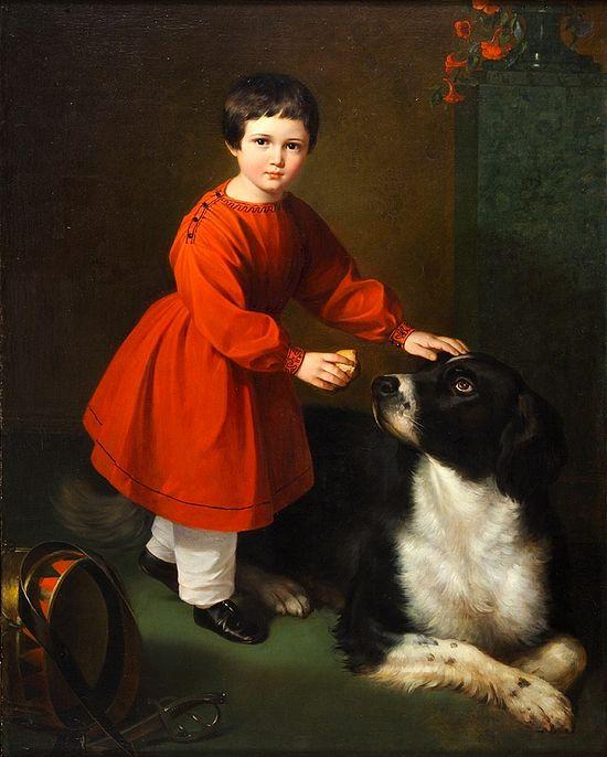 Неизвестный художник круга Рисса. Мальчик с собакой. 1840-е гг. Ярославский художественный музей