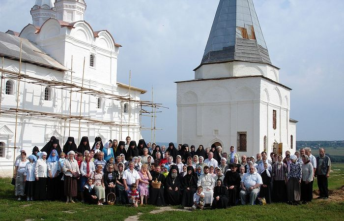 The convent's nuns with parishioners and those under their care