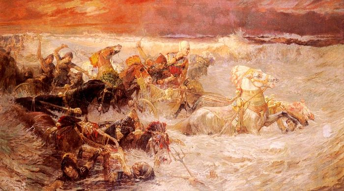 Pharaoh's army engulfed by the Red Sea, painting by Frederick Arthur Bridgman (1900). Photo: WIkipedia