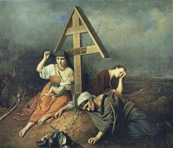 Сцена на могиле. Художник: В.Г. Перов. 1859