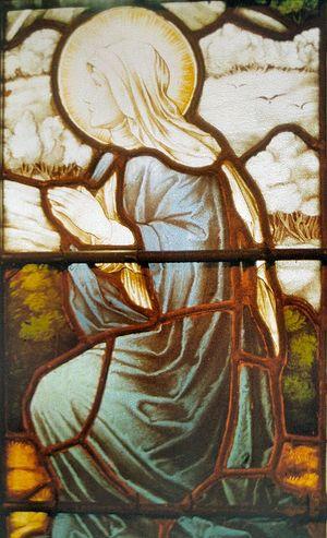Витраж прп. Беги в одной из приходских церквей Камбрии
